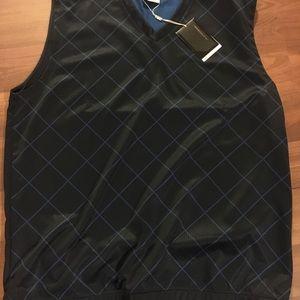 Men's Nike Golf Vest Plaid Black/Blue NWT
